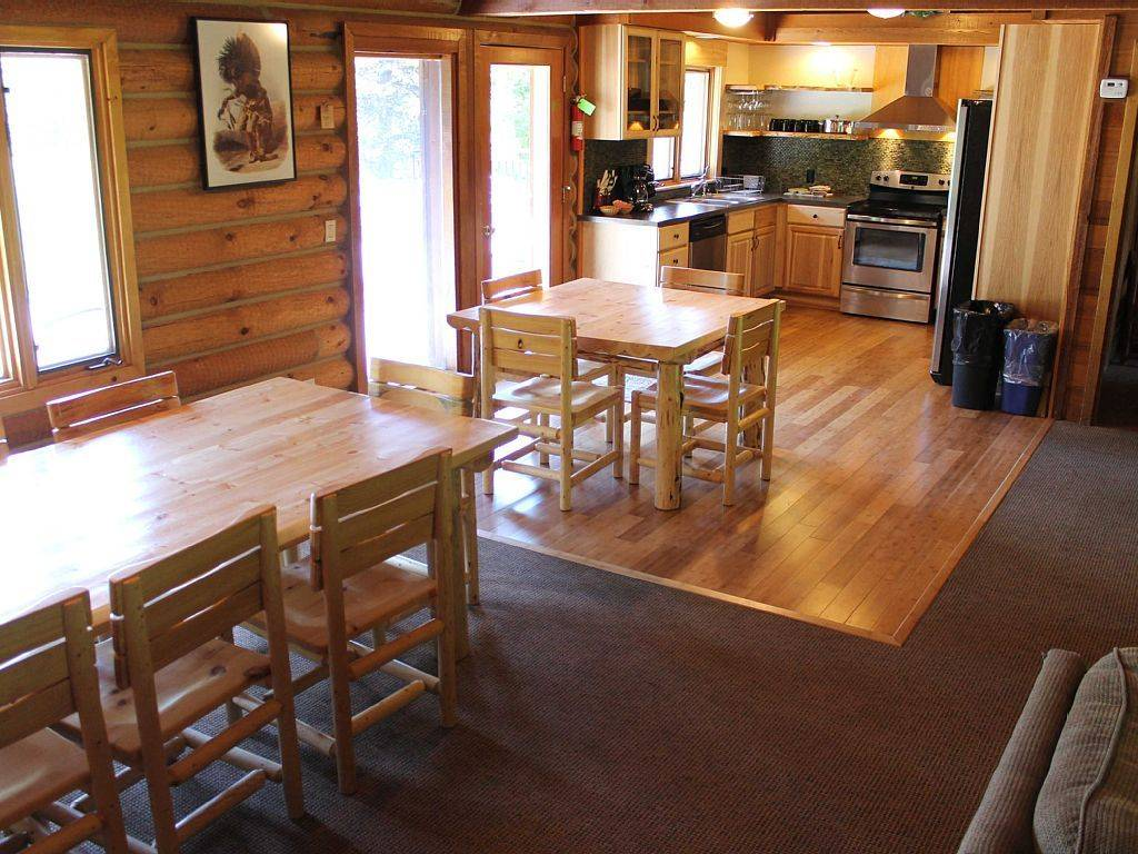 Private Log Home Kitchen